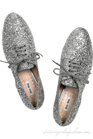 shoes brogues miu miu glitter silver oxfords