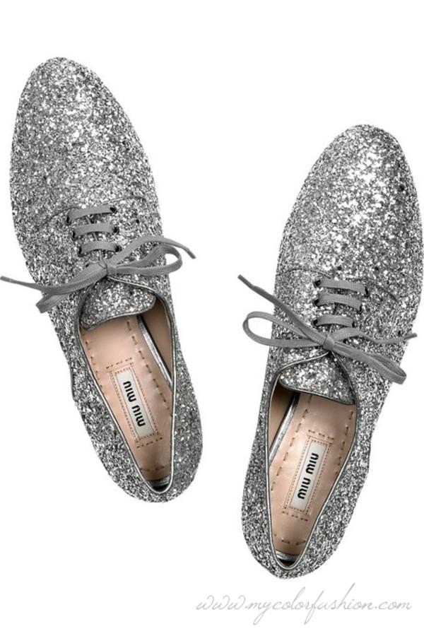 shoes miu miu glitter silver brogue shoes oxfords