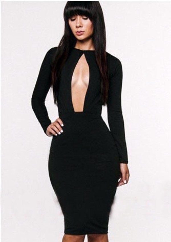 dress midi dress little black dress sexy clubwear front-out