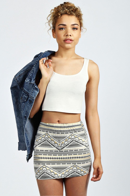 Zarah foiled aztec super short mini skirt