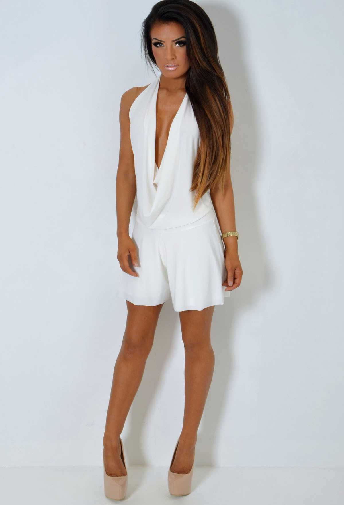 Rabala White Cowl Neck Backless Playsuit | Pink Boutique