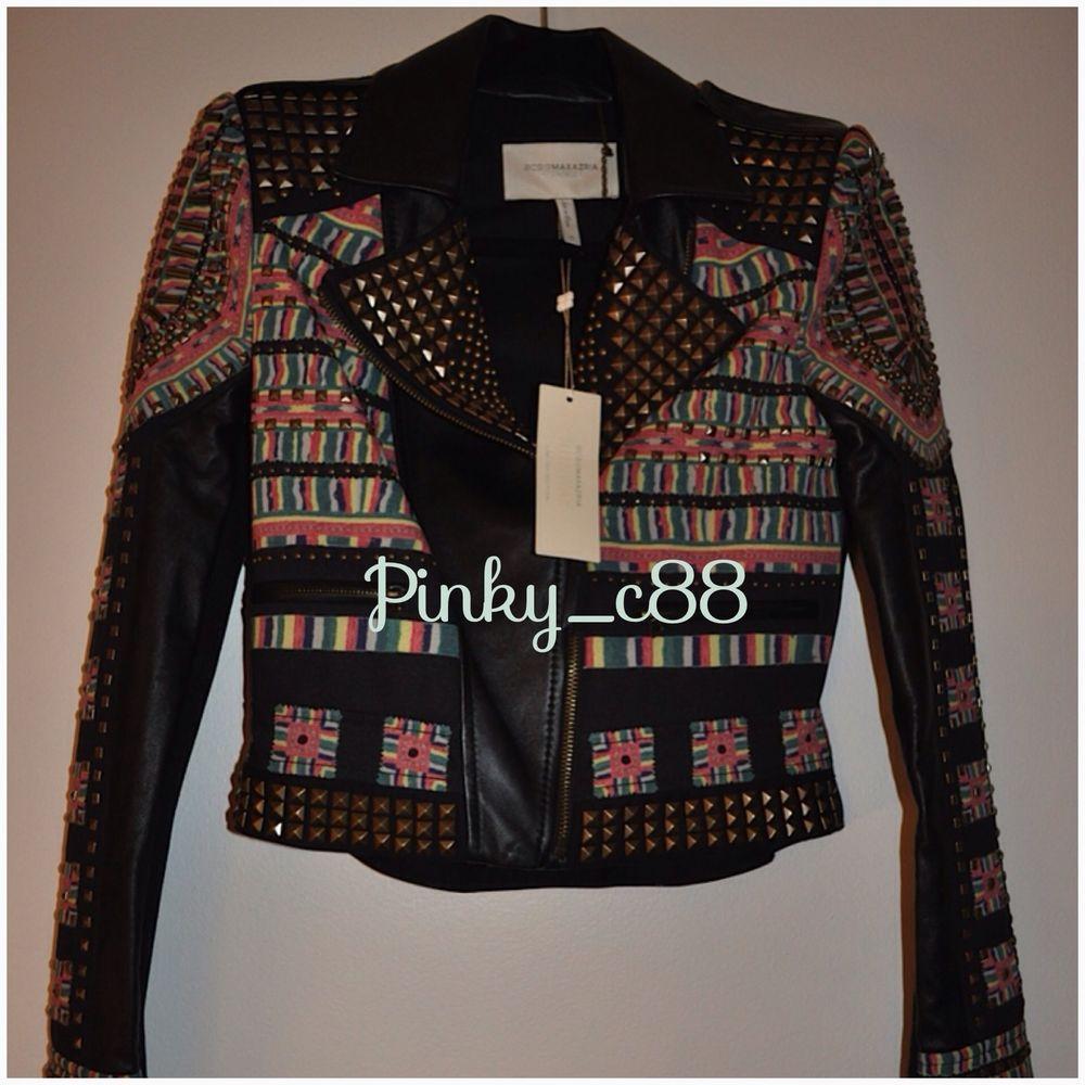 Size Xs Bcbg Ossie Black Leather Print Studded Jacket Sold