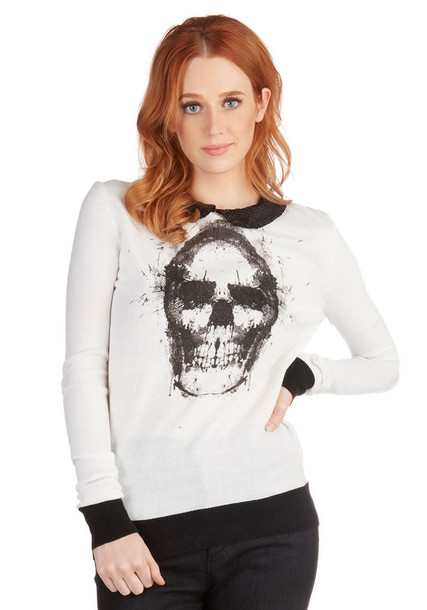 sweater skull sweater skull skull t-shirt skull collar preppy sweater white sweater