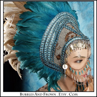 jewels boho turquoise jewellery headband blue and gold gypsy statement headdress
