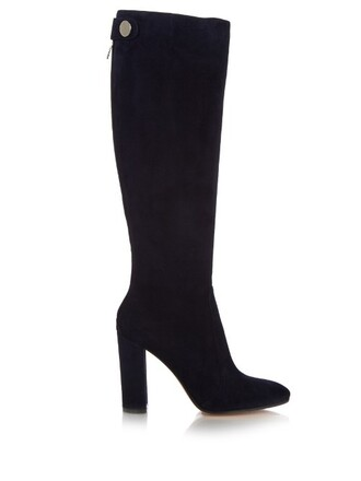 knee-high boots back zip high boots suede navy shoes