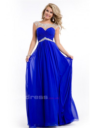 Line bateau sleeveless chiffon with beaded scoop prom dresses