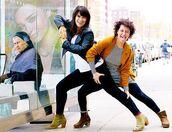 jacket,top,white top,ilana glazer,abbi jacobson,celebrity style,celebrity,black leggings,leggings,mid heel boots,brown boots,dress,striped dress,mini dress,blazer,mustard,mustard blazer,black leather jacket,leather jacket,black jacket