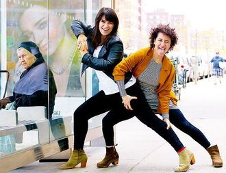 jacket top white top ilana glazer abbi jacobson celebrity style celebrity black leggings leggings mid heel boots brown boots dress striped dress mini dress blazer mustard mustard blazer black leather jacket leather jacket black jacket