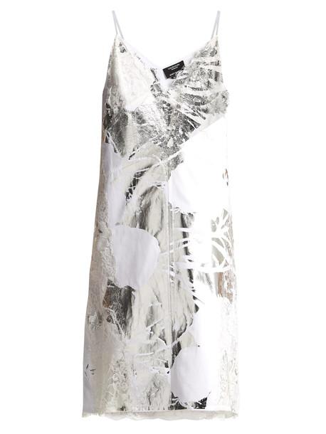 dress white cotton print silver