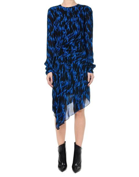 Saint Laurent dress asymmetrical dress asymmetrical draped print blue black