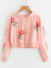 sweater,embroidered,girly,pink,sweatshirt,hoodie,floral,flowers