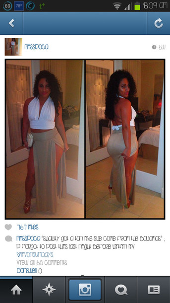 skirt long dress long skirt maxi skirt front open cut grey tan beige hip skirt