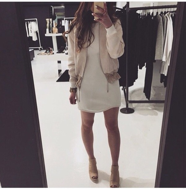 jacket shoes booties taupe wedges heels wedges bomber jacket beige nude neutral blouse chic dress mini dress white dress
