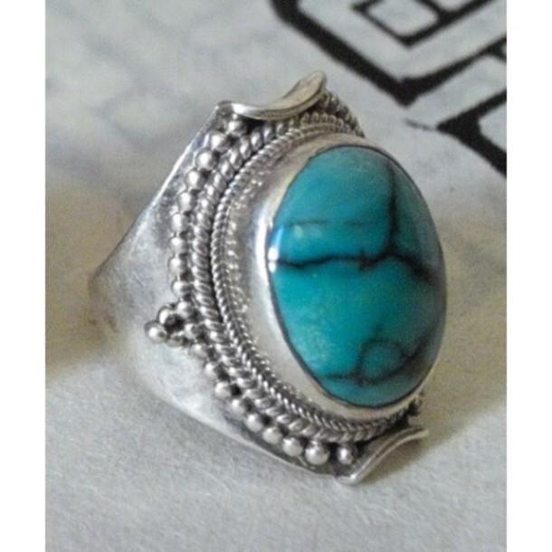 jewels ring vintage turquoise ring vintage cute turquoise jewelry silver silver ring