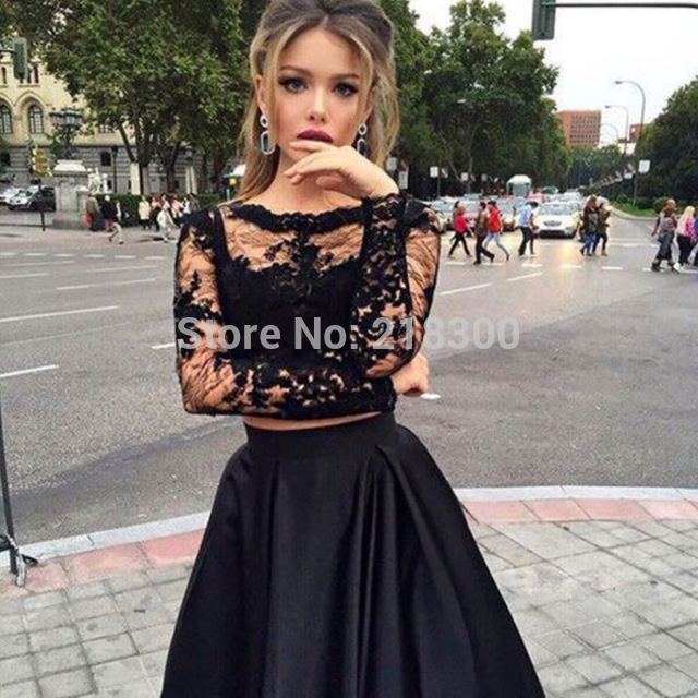 9bc4a115b2f Aliexpress.com   Buy Black lace two pieces prom dress long sleeves ball gown  crop top pageant ...