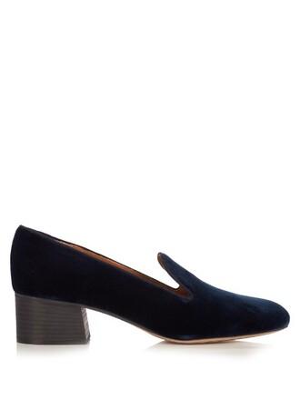 loafers velvet navy shoes