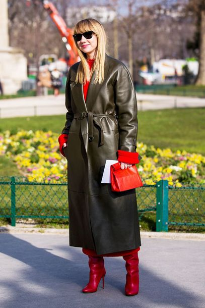shoes jacket long jacket leather jacket leather coat red bag bag red shoes red boots boots red top sunglasses black sunglasses
