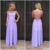 dress,purple,maxi dress,criss cross back