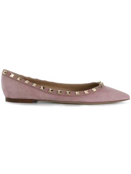 Valentino women leather suede purple pink shoes
