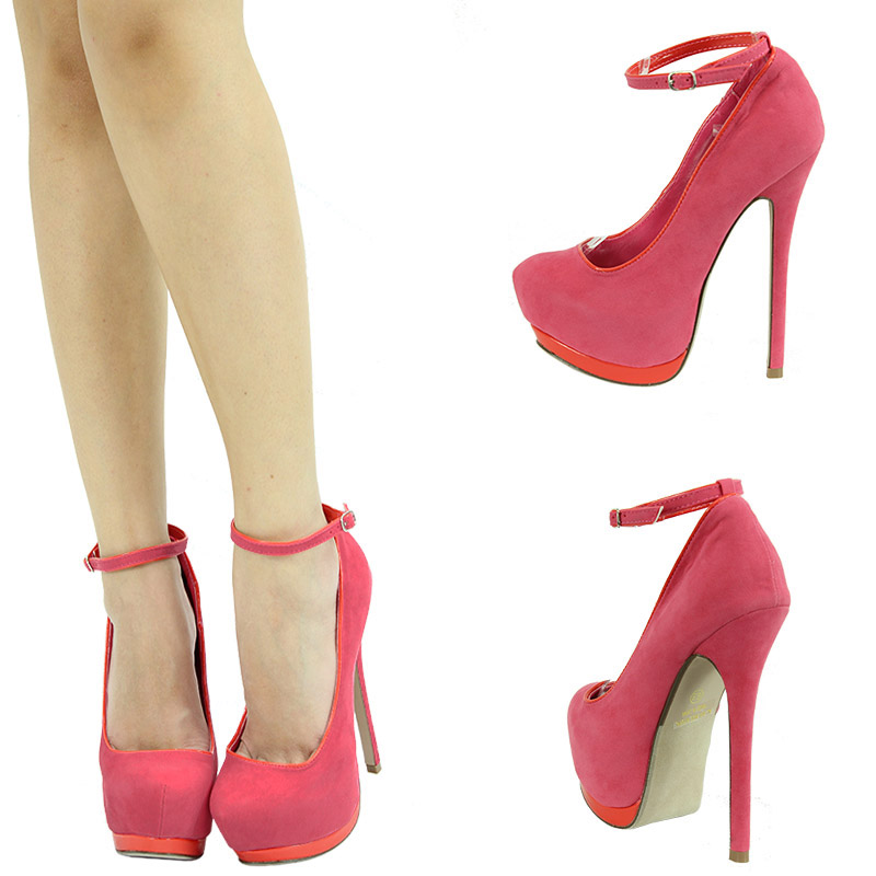 Coral pink mary jane ankle strap high heel platform stiletto womens pump sandals