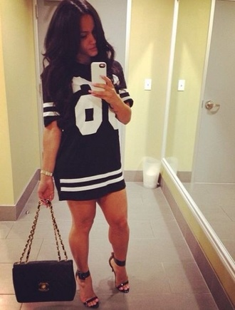 jersey blouse baseball tee dress black jersey dress bag high heels black shorts jerseydress casual t-shirt