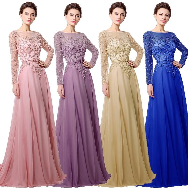 Maxi Pink Chiffon Womens Formal Long Sleeve Gown Ball Prom Dress Pearl Sequins