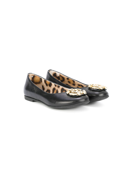 Roberto Cavalli Kids leather black shoes
