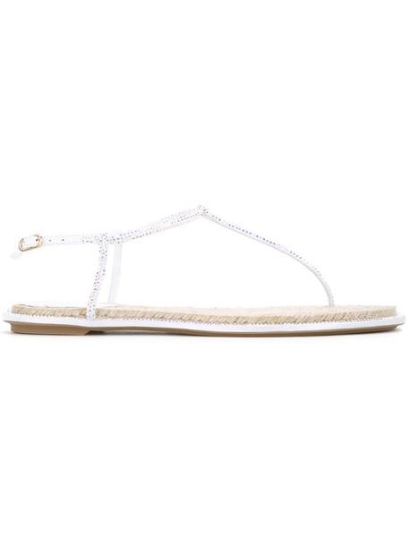 René Caovilla embellished sandals women embellished sandals leather white shoes