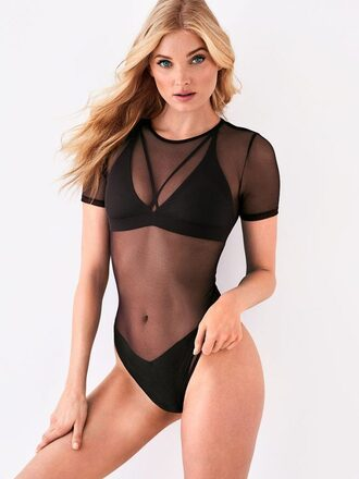 underwear elsa hosk editorial model see through bodysuit lingerie victoria's secret model