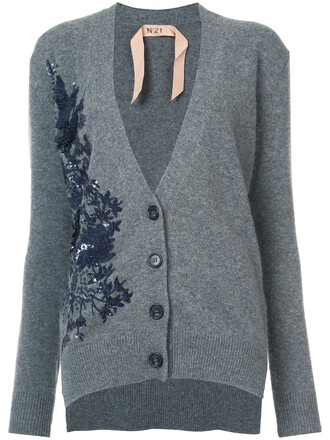 cardigan embroidered women wool grey sweater