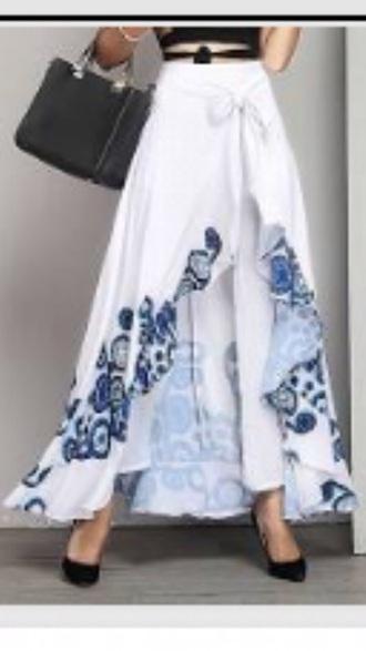 pants white thai wrap pants blue flowers