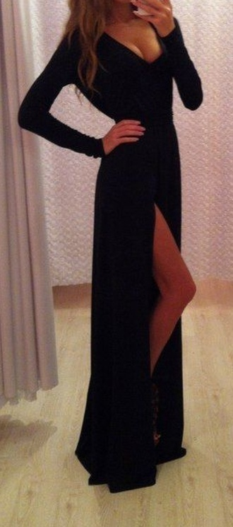 slit dress black dress v neck dress evening dress