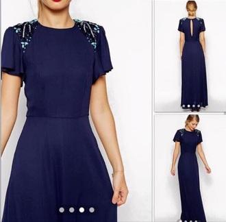 dress dark blue dress glitter dress long dress