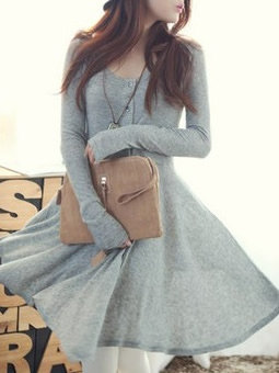 Wholesale grey blends women fashion round neck long sleeve asymmetrical knee
