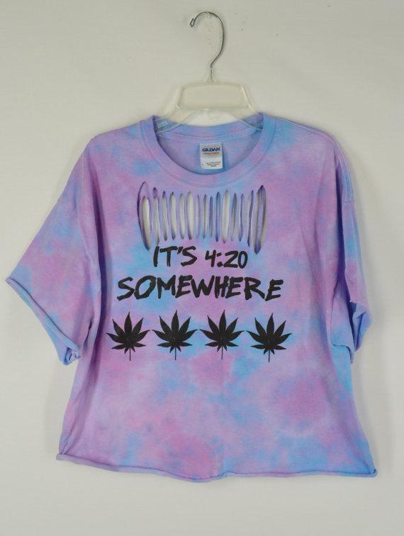 466d56f28d Pot Leaf Crop Top Tie Dye Shirt Large Soft Grunge Hippie Striped Pale Tie  Dye Handmade Womens Clothing ...