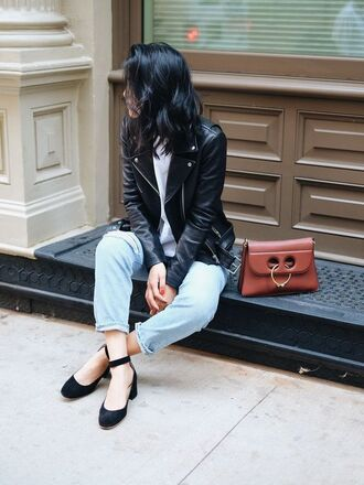 bag brown bag leather jacket black leather jacket top white top denim ripped jeans blue jeans shoes mid heel pumps black shoes fall outfits j w anderson j.w.anderson bag jacket