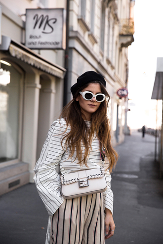 the fashion fraction blogger shirt pants shoes bag sunglasses beret stripes striped pants crossbody bag