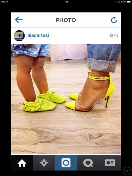 yellow shoes mother and daughter