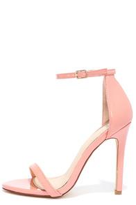 VIP Ticket Blush Patent Ankle Strap Heels