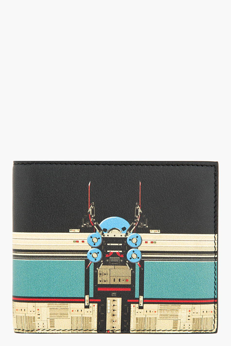 Givenchy black and teal lambskin robot graphic bifold wallet