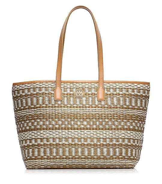 Tory Burch Small Stripe Straw Tote  : Women's View All | Tory Burch