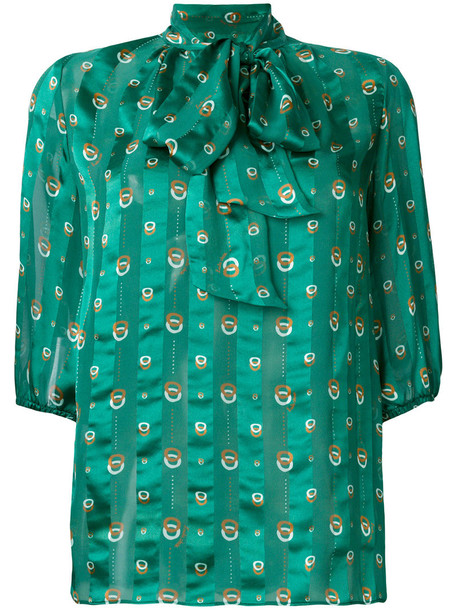 L'Autre Chose blouse bow women silk green top
