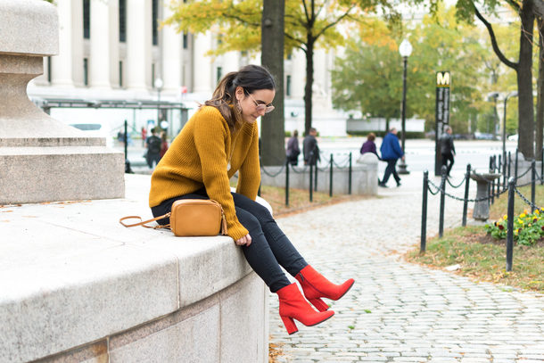 district dress up blogger shoes sweater jeans bag sunglasses jewels fall outfits red boots booties mustard sweater