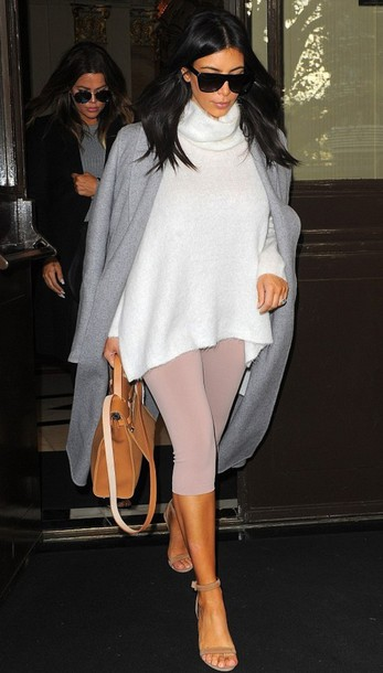 leggings kim kardashian nude turtleneck sweater white