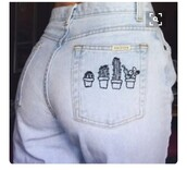 jeans,denim,skinny jeans,blue,cactus,light blue jeans,cactus jeans,light blue,tumblr,pinterest,tumblr girl,ootd,washed out,blue jeans,embroidered jeans,pinterest outfit