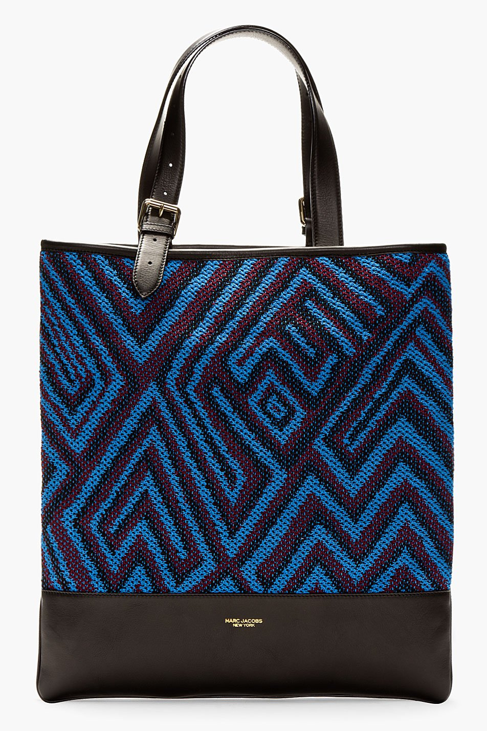 marc jacobs blue and oxblood crocheted tote