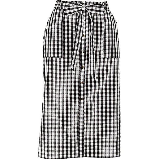 a1da63f84e1139 Black gingham button through midi skirt