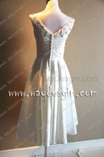 Elegant Ruched A-line V-Neck Beading Satin Short Weeding Dress