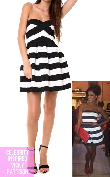 Luxe celeb style stripe bandage dress from the fashion bible uk Celeb style fashion uk