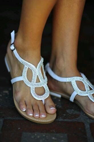 shoes white shoes flats white sandals cute sandals white flats summer shoes